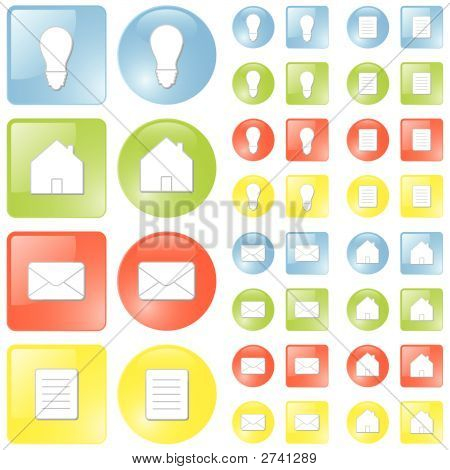 Modern Glossy Icon Set In Four Colors