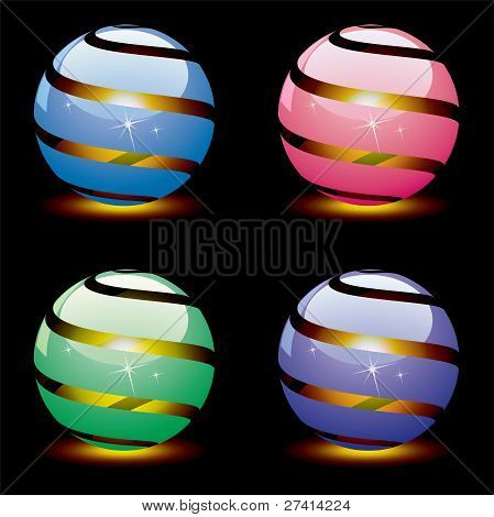 Vector 3D Shiny Globes With Light Inside. Eps 10