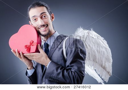 Man with wings and giftbox
