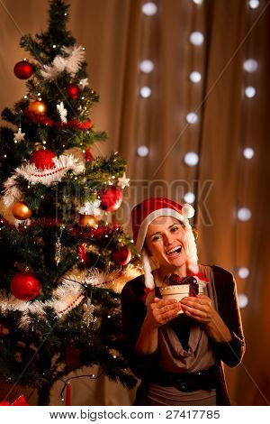 Portrait Of Happy Girl Near Christmas Tree With Present Box