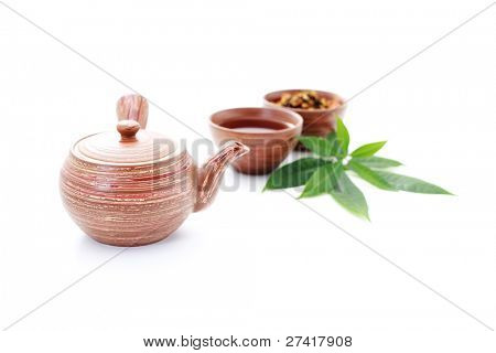 tea pot and cup of hot tea on white background - tea time