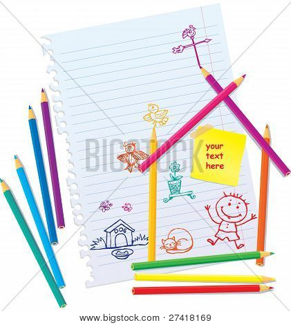 Design Concept for real estate - color Pencils and hand drawn people