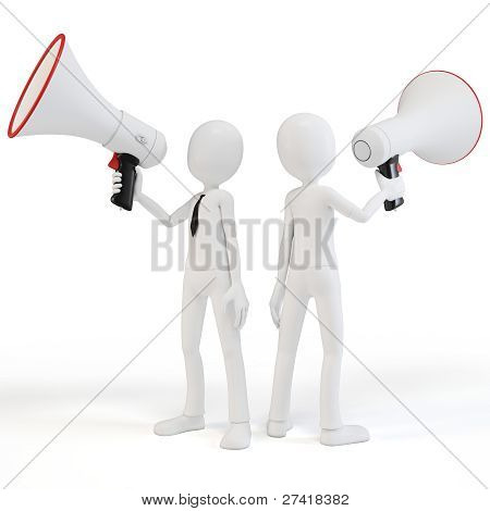 3D Man Businessman With Megaphone Speaking Loud
