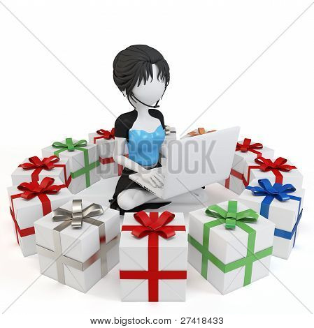 3D Girl With Gift Boxes And Laptop