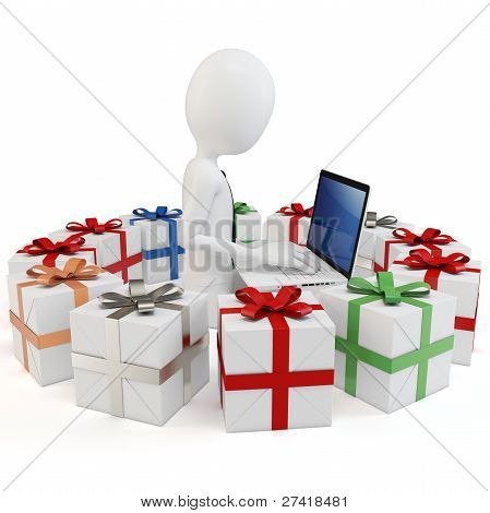 3D Man Businessman With Gift Boxes