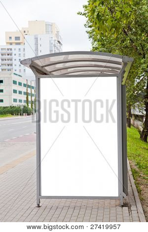 Blank billboard on bus stop for your advertising