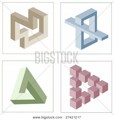 different multicolored optical illusions of unreal geometrical objects vector