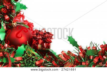 Red Christmas Bauble And Tinsel