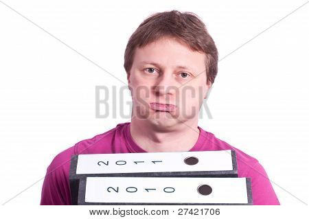 Unmotivated Man With Files