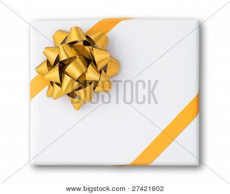 Gold Star And Cross Line Ribbon On White Paper Box