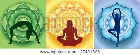 silhouette of yoga girls on bright mandala backgrounds vector