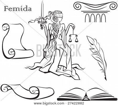 Satz von Gerechtigkeit Symbole (Buch, Spalte, Pen, perfume Schriftrolle) und Femida eine Göttin der Gerechtigkeit