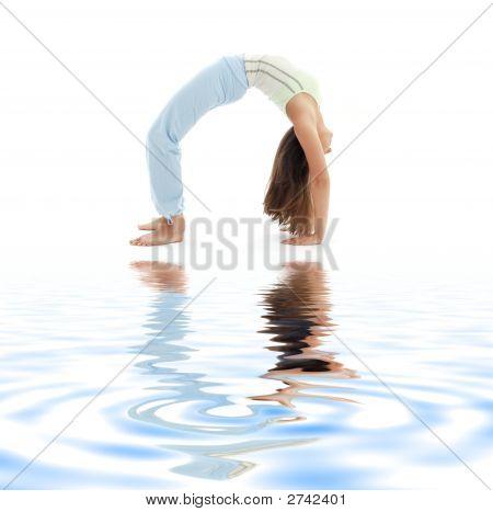 Urdhva Dhanurasana Upward Bow Pose On White Sand