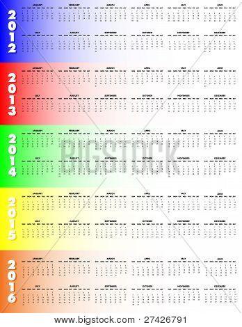 Five-year Calendar 2012-2016 - Sunday Start