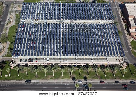 Solar Panels Over Parking Garage