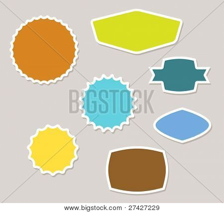 Set of vector labels badges and stickers with retro colors