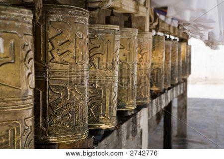 Prayer Wheels In Monastery Tashi Lhunpo