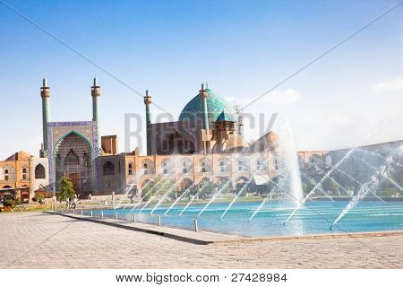 Beautiful fountain in front of Jame Abbasi mosque on Naqsh-i Jahan Square , Esfahan, Isfahan, Iran