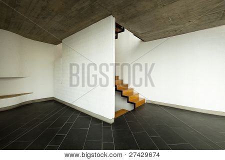 interior modern villa, empty room, wooden staircase