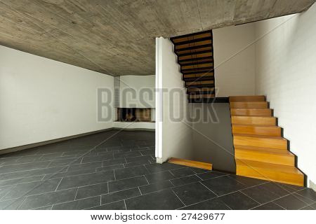 modern empty villa, room fireplace and wooden staircase