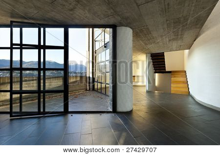 modern empty villa, large window, background stairs