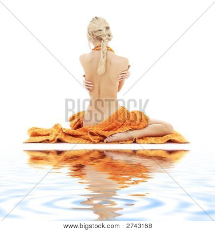 Beautiful Lady With Orange Towels On White Sand #2