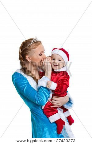 christmas girl talk a secret to baby santa claus