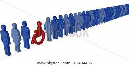 Wheelchair person waiting in a long queue