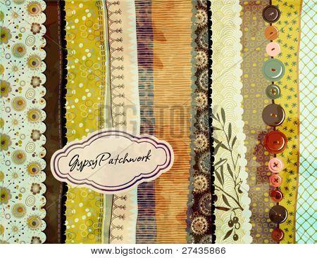 Retalhos de Gypsy, fundo pintados à mão com coloridos estampados amostras de tecido/papel, vários bord