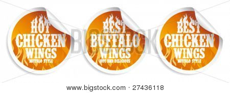 Best hot chicken wings stickers set.