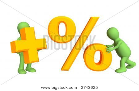 Two 3D Persons, Holding In Hands Symbols Plus And Percent