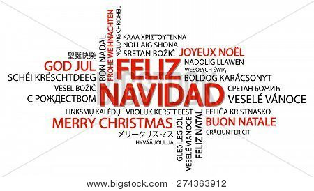 Merry Christmas Different Languages.Word Cloud With Text Merry Christmas In Different Languages In The Middle One Oversized And Bold Wr Poster