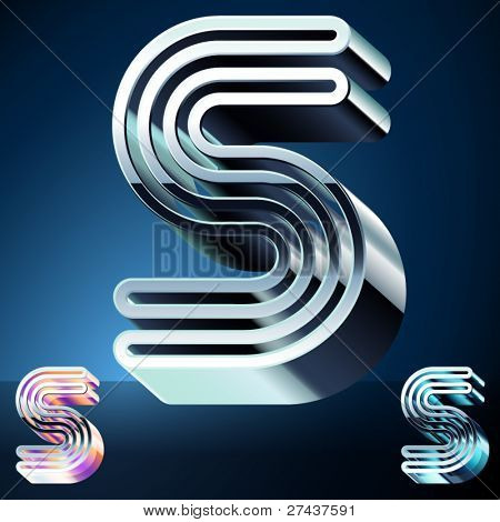 Three-dimensional ultra-modern alphabet from chrome or metal letters. Character s
