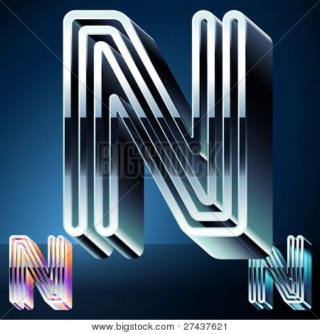 Three-dimensional ultra-modern alphabet from chrome or metal letters. Character n