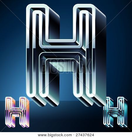 Three-dimensional ultra-modern alphabet from chrome or metal letters. Character h