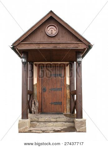 Old wooden door. Object isolated over white