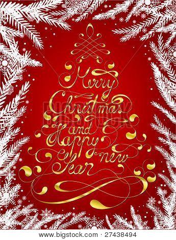 Elegante caligrafía feliz Navidad y feliz año nuevo fondo formando un árbol de Navidad