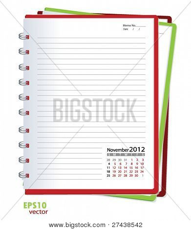 Simple 2012 calendar notebook, November. All elements are layered separately in vector file. Easy editable.