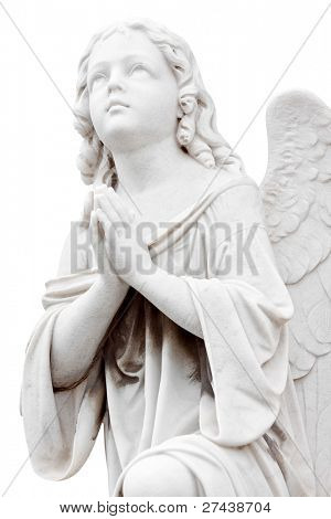 Beautiful marble statue of an infant angel isolated on white with clipping path