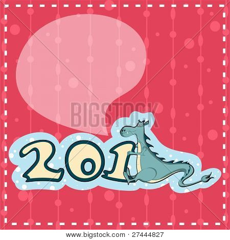 New Year's Eve greeting card  in pink color heaving 2012 text with symbol dragon for Happy New Year