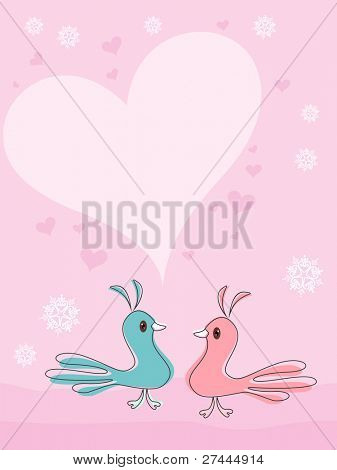 Little birds in love with hearts on pink background with space for your text, Valentine Day greeting card.