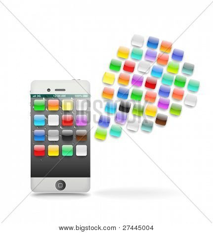 Modern touchphone gadget with speech cloud of icons isolated on white