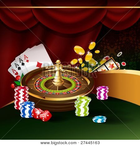 Vector illustration on a casino theme with roulette wheel, playing cards and poker chips.