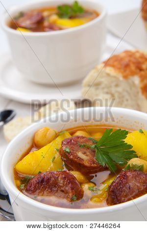 Golden Chorizo And Chickpea Soup