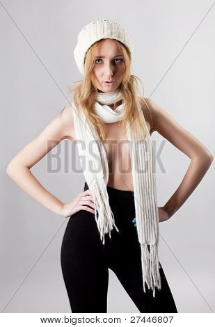 sexy blond woman portrait in panty hose and scarf