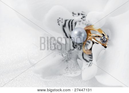 Elegant Jewelry Ring And White Orchid