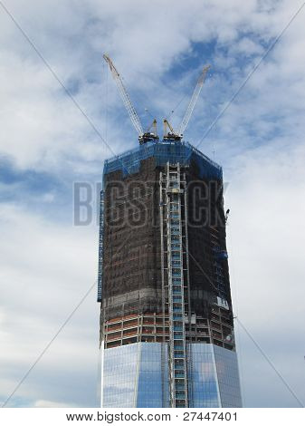 Freedom Tower construction with 911 Memorial viewed from 52nd Floor of the Millenium Hilton
