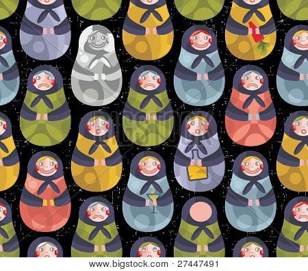 Matreshka russian doll seamless pattern.