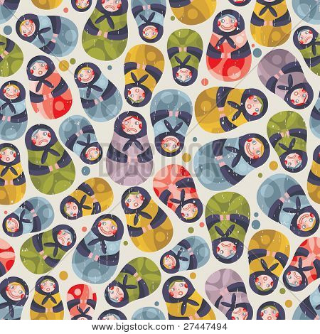 Matreshka toy seamless pattern.