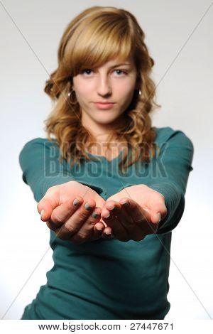 Teen with empty hands